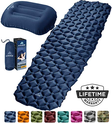 HiHiker Camping Sleeping Pad + Inflatable Travel Pillow - Ultralight Backpacking Air Mattress w/Compact Carrying Bag -Sleeping Mat for Hiking Traveling & Outdoor Activities (Blue)