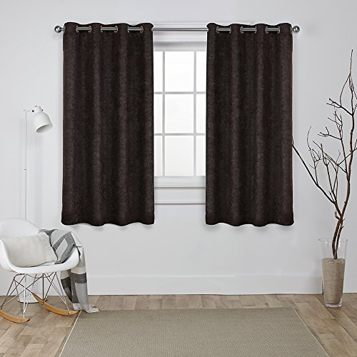 Espresso Drapes (Exclusive Home Curtains Oxford Textured Sateen Thermal Room Darkening Grommet Top Window Curtain Panel Pair, Espresso, 52x63)