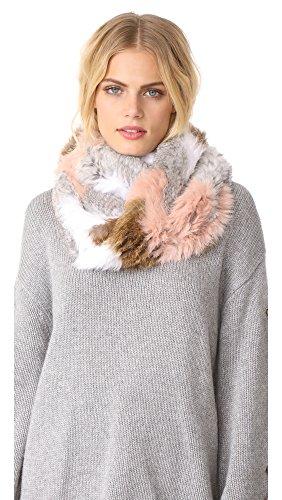 Jocelyn Women's Chevron Knitted Fur Infinity Scarf, Petal Multi, One Size by Jocelyn