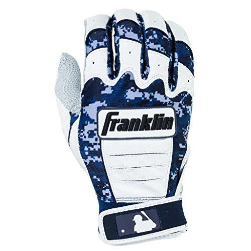 Franklin Sports Adult MLB CFX Pro Digi Series Batting Gloves, Pearl/Navy, Large
