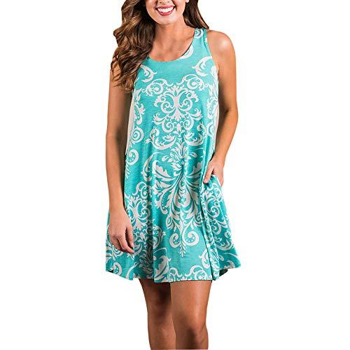 (Women's Summer Casual Swing T-Shirt Dresses Vintage Boho Aztec Print O-Neck Mini Dress Loose Tank Beach Dress with Pocket)
