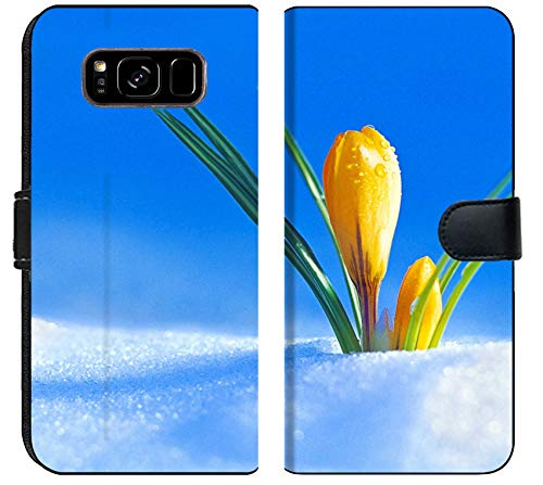 Samsung Galaxy S8 Plus Flip Fabric Wallet Case Image of Yellow Floral Beautiful Spring Nature Flower Bloom Beauty Blossom Flora Plant Green Leaf Petal Macro
