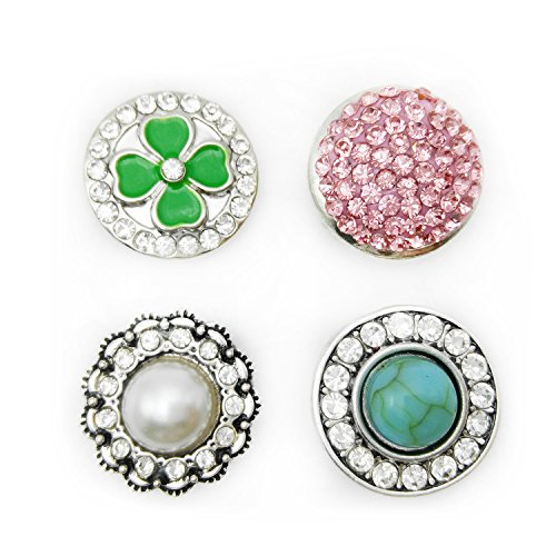 Lovglisten New Clover Mixed Color Snap Button Jewelry Charms with Full Rhinestones Pack of 4pcs