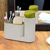EKRON Multi-Utility Plastic Sink Organiser with Liquid Hand wash Soap Dispenser Pump and Storing Slots (Standard, Random Colour)