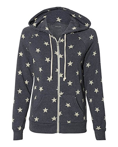 Joe's USA Women's Eco-Fleece Hooded Full-Zip Sweatshirt-XL-Stars
