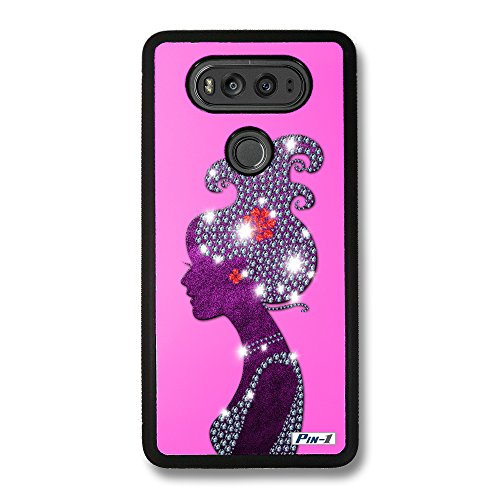 Pin-1 Snap-on Hard Case with Black TPU Bumper for [LG V20] - Art Fashion Rose Pink Hairstyles Silhouettes 1920