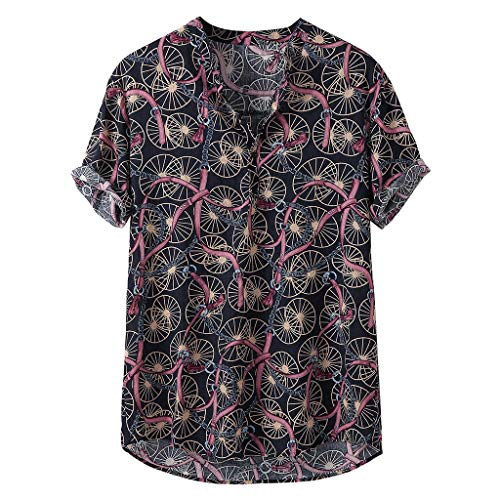 TIFENNY Colorful Stripe Print Shirts for Men Summer Henry Collar Buttons Short Sleeve Loose Casual Shirt Tops Blouse Black ()