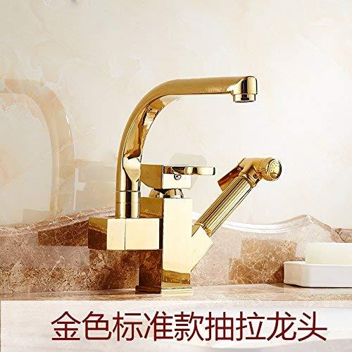 JingJingnet 洗面台用ミキサータップ浴室のシンクの蛇口金の台所の蛇口の洗面器の流しのホットおよびコールドテレスコピックエクステンションの銅メッキプル銅盆地 (Color : The Gold) B07R2KF2N9 The Gold