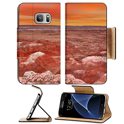 Luxlady Premium Samsung Galaxy S7 Flip Pu Leather Wallet Case IMAGE ID: 34052046 Sunset scenic landscape of ancient petrified forest in - T Desert Ridge Mobile