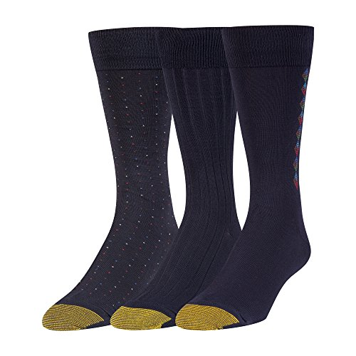 Gold Toe Men's Big and Tall Dress Crew Socks, 3 Pairs, navy, Shoe Size: 12-16 (Gold Toe Rayon)