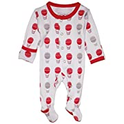 L'ovedbaby Unisex-Baby Organic Cotton Footed Overall (9-12 Months, Red Hot Air Balloons)