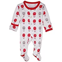 L'ovedbaby Unisex-Baby Organic Cotton Footed Overall (9-12 Months, Red Hot Ai...