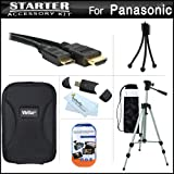 Starter Accessories Bundle Kit For The Panasonic DMC-3D1 3D Digital Camera Includes Deluxe Carrying Case + 50 Tripod With Case + Mini HDMI Cable + USB 2.0 Card Reader + LCD Screen Protectors + Mini TableTop Tripod + MicroFiber Cleaning Cloth