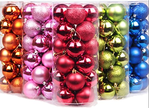 Yoland 24ct Barrel Plating Multicolor Christmas Ball Ornaments (40mm) (2.3''/Green)