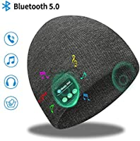 Bluetooth Beanie, Bluetooth 5.0 Wireless Headset Music Winter Beanie Hat, Build-in 2 HD Stereo Speakers & Mic, Fits for...