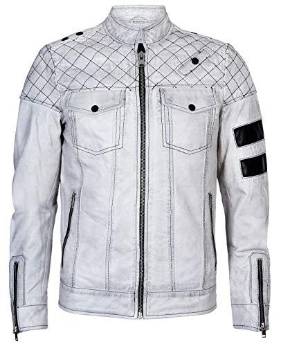 Jacket Vintage Mens Racing - Men's Vintage White Retro Casual Zipped 100% Leather Moto Racing Biker Jacket S