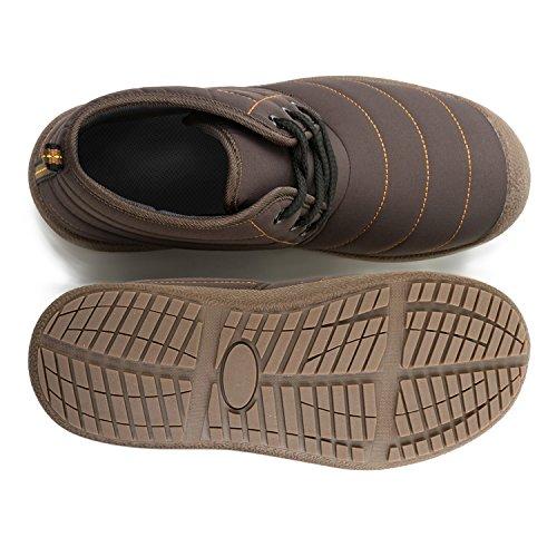 JOINFREE Unisex Warm Plüsch Futter Slip On Flat Ankle Schnee Stiefel Winter Warme Schuhe Armband_braun