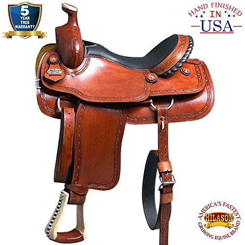 HILASON 17 Big King Western Leather Wade Ranch Roping Cowboy Saddle TAN KOTE