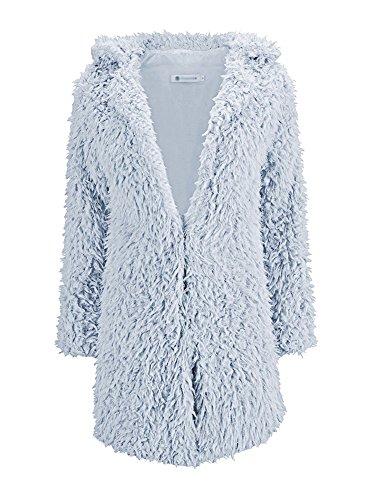 Fluffy Outwear Giubbino Invernali Shaggy Cappotto Morbido Tomwell Giacca Donna Giacche Grigio Caldo Autunno Manica Cappotti Lunga Cardigan HZqwTn