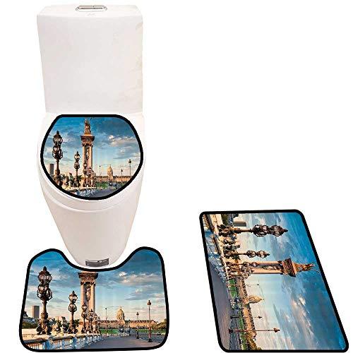 Non-Slip Bathroom Toilet Mat Alexandre Bridge Spanning The River Seine Ornate Nouveau Lamps 3 Pieces Microfiber ()