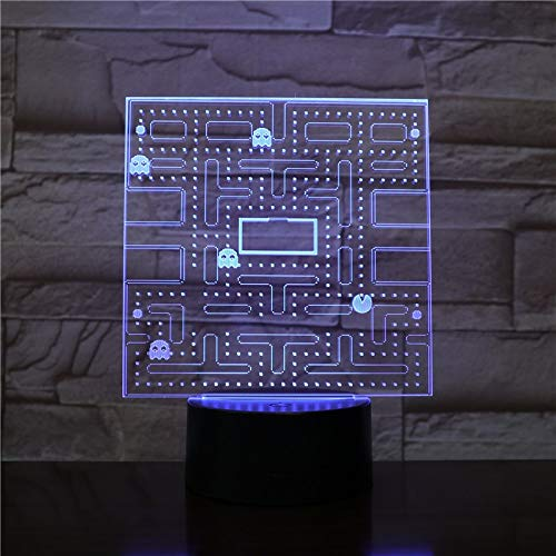 USB 3D LED Luz de Noche Pac Man Multicolor RGB luces ...