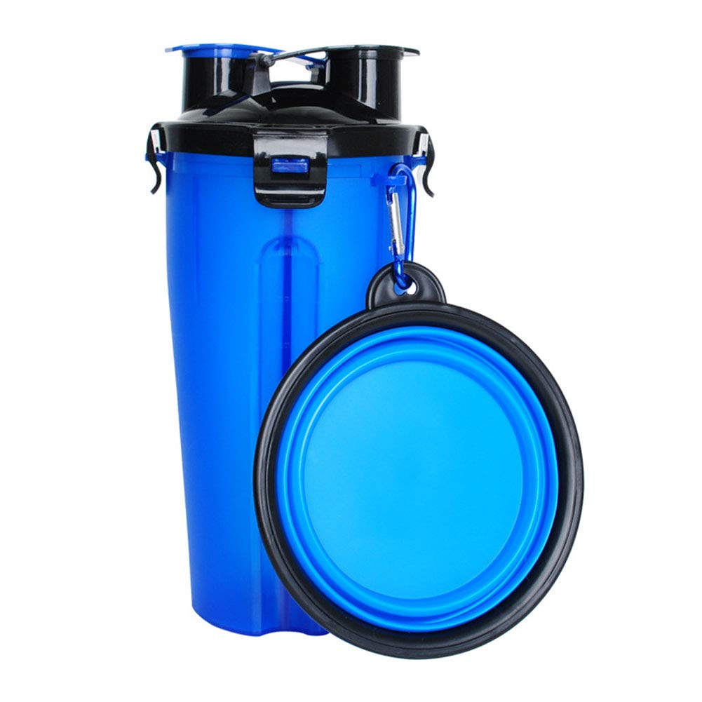 Dog Water Bottle for Walking and Food Container 2 in 1 with Dog Water Bowl Collapsible Portable Dog Water Dispenser for Pets bluee Travel,Hiking,Outdoor