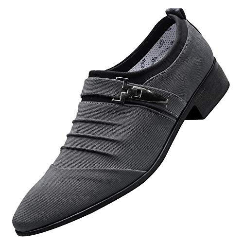 Respctful ◉Men Shoes Resistant Dress Casual Loafer Fashion Glitter Metal-Tip Dress-Shoes Gray