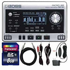 Boss BR-80 Micro BR SD Recorder Bundle With Power Supply and Cables