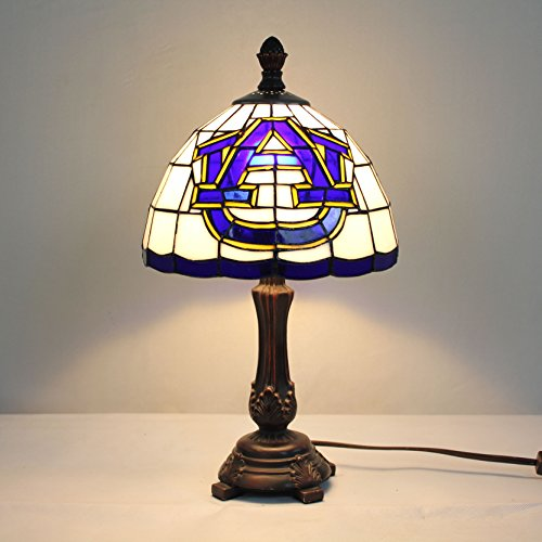 Stained Glass Tigers Desk - Gweat 9-inch NCAA Auburn Tigers Stained Glass Table Lamp