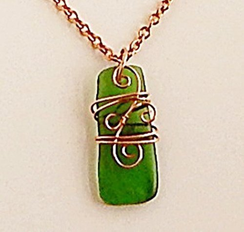 wire wrapped recycled glass pendant. Wire Wrap Recycled Glass Pendant Celtic Design Necklace Green, Copper Chain Wrapped