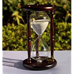 WALLER PAA 60 minutes Antique Wood Sand Hourglass Sandglass Sand Timer Clock for Gift Decor