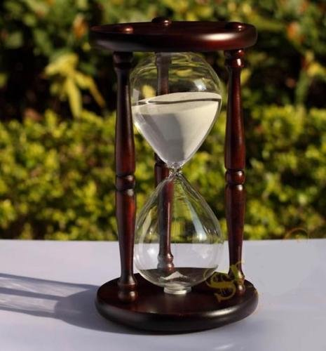 WALLER PAA 60 minutes Antique Wood Sand Hourglass Sandglass Sand Timer Clock for Gift - Hours Geneva Outlets