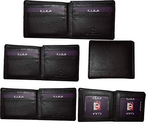 5 IDs 2 Card Black NY Men's 3 Wallets Lot Pieces Bifold Leather Center of FIZA w156Cq4
