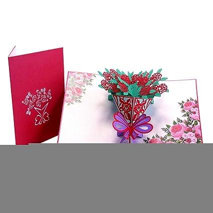 Tarjeta de rosa 3d, tarjeta pop-up, día de la madre, tarjeta ...