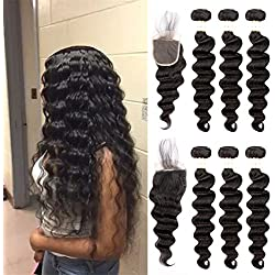 Ugrace Hair Bundles with Closure Natural Loose Wave Human Hair with Crochet Closure Brazilian Virgin Hair with Lace Closure with Baby Hair Natural Color Soft and Bouncy 16 18 20+14 Inch Free Part