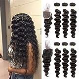 Ugrace Hair Bundles with Closure Loose Deep Wave with Closure Brazilian Virgin Hair Closure with Bundles Full and Thick Lace Closure with Bleached Knots Natural Color(14 16 18+14 Inch Free Part)