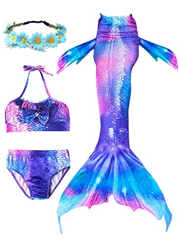 Girls 4 Pcs Swimsuit Mermaid Tails for Swimming Bikini Bathing Suit Set Support Monofin,Mermaid Valentines Gifts for Kids