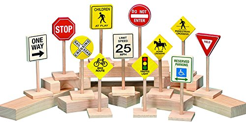 Becker's School Supplies Bilingual Road Sign Set, (Set of 12) (Signs Guidecraft Traffic)