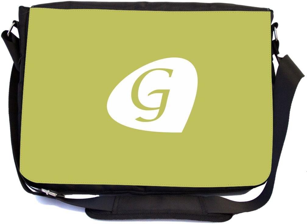 Messenger School Bag mbcp-cond43946 Rikki Knight Letter G Moss Green Initial Petal Leaves Design