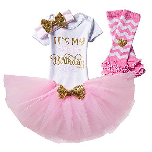 NNJXD Girl Newborn It's My 2nd Birthday 4 Pcs Outfits Romper+Skirt+Headband+Leggings Size (2) 2 Years (2nd Birthday Ideas)