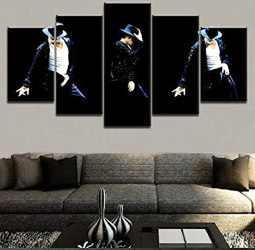 NATVVA 5 Pieces King of Pop Michael Jackson Poster HD Print Music Painting Decor Modular Framework Canvas Home Decorative Wall Art ()