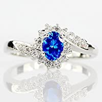 Siam panvaExquisite 925 Silver Oval Cut Blue Sapphire Wedding Band Engagement Ring Jewelry (9)