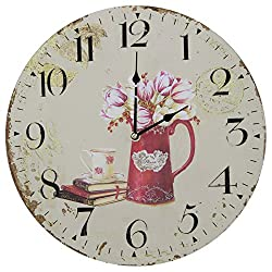 13 Wall Clock with French Country Tulips Flowers Rustic Prints