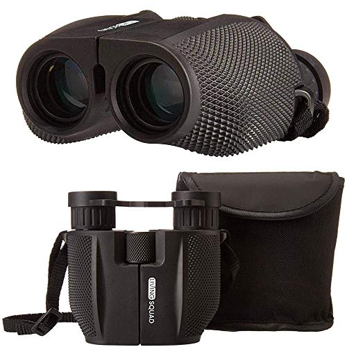 Living Squad 10x25 Binoculars for Adults Compact with Dust Cover - High Power Travel Binoculars with Low Light Night Vision - Waterproof Binoculars for Bird Watching, Hunting, Marine, Sports - Kids