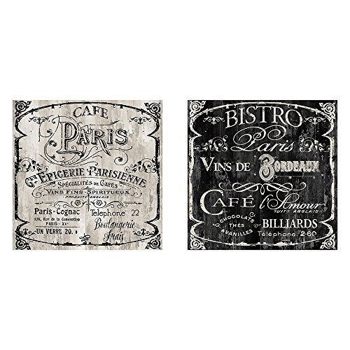 Picture It On Canvas Two 12x12 Cafe Paris Bistro Wall Art Signs French Kitchen Decor