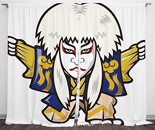 (Satin Window Drapes Curtains [ Kabuki Mask Decoration,Character with Kimono Orient Elements Edo Era Arts Theater Play Decorative,Multicolor ] Window Curtain Window Drapes for Living Room Bedroom Dorm)