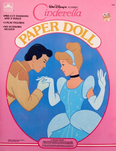 Walt Disney Classic CINDERELLA PAPER DOLL Book UNCUT w PRINCE, Fairy Godmother, Mice GUS & PERLA (1989 Golden) (Cinderella Doll Paper)