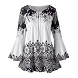 iOPQO Sweater for Women, Fashion Plus Size Printed Flare Blouses T-Shirt