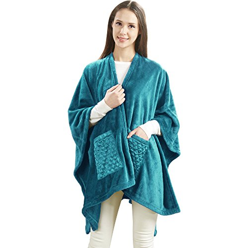 Teal Angel Wrap Blanket with Two Satin Pockets 50 x 60