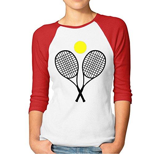 jun-womens-3-4-sleeve-tennis-racket-and-ball-basketball-short-shirts-red-m